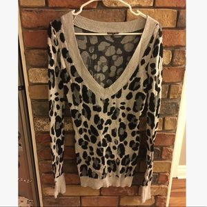 Express Leopard Print Deep V-Neck Cotton Sweater